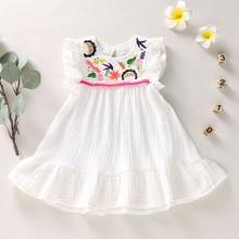 Летнее платье для маленьких девочек платье для новорожденных детей, для девочек, платье без рукавов с вышивкой платье принцессы с цветочным...