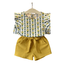 купить 2 3 4 5 6 7 8 Year Girls Clothes 2019 New Summer Casual Children Clothing Set Pineapple Printed Tops Shorts Toddler Kids Suits дешево