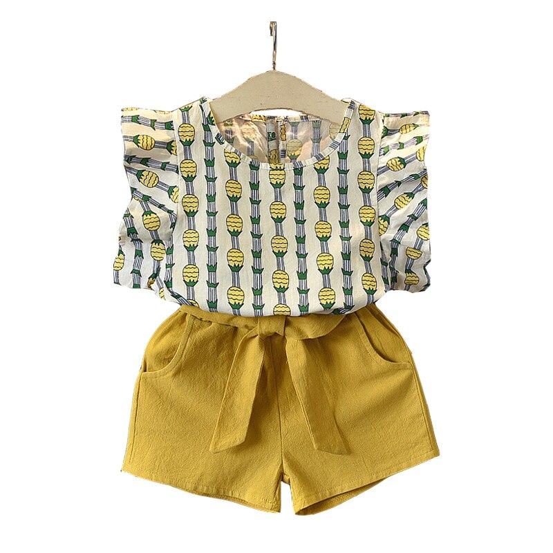 2 3 4 5 6 7 8 ano Roupas Das Meninas 2019 Verão Novo Conjunto de Roupas Casual Crianças Abacaxi Impresso Tops shorts Da Criança Se Adapte Às Crianças