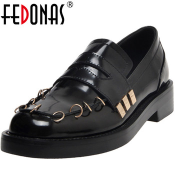 FEDONAS  New Women Metal Decoration Party Night Club Pumps Spring Summer Round Toe Shoes  Strange Patent Leather Shoes Woman