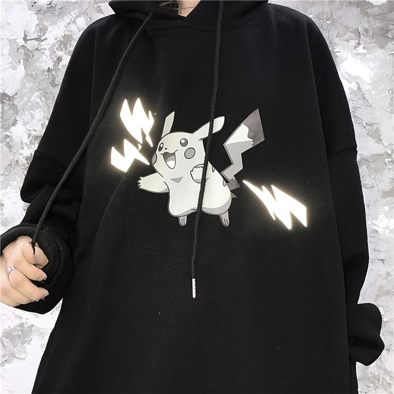 Pokemon Pikachu Reflective Print Hoodies Autumn Winter Plus Velvet Warm Sweatshirt Harajuku Novelty Men/women Joker Pullovers