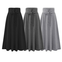 6 Color Lace-up Skirt Fashion Comfortable High Waist Loose Casual Solid Empire Waistline Ankle-Length Womens A-line