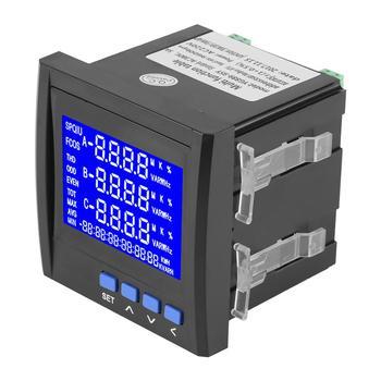 Wielofunkcyjne 3 fazy prąd elektryczny napięcie częstotliwości licznik energii VA Hz kWh RS485 tanie i dobre opinie Aramox Obróbka metali Other 380 v Cyfrowy tylko Current Meter Voltage Meter Trzy fazy -10~55 Celsius Degrees 19A i Pod