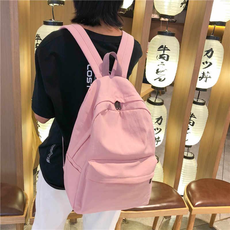 Mode sac à dos femmes sac à dos couleur unie sacs d'école pour adolescente nouvelle école sac à dos femme mode sacs à bandoulière
