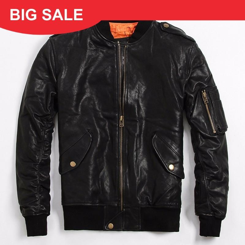 2020 Black Men Pilot Leather Jacket Plus Size 6XL Genuine Sheepskin Slim Fit  Russian Winter Leather Aviator Coat FREE SHIPPING