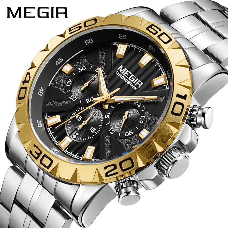 MEGIR Gold Watches Mens 2019 Chronograph Quartz Business Top Brand Luxury Black Waterproof Wrist Watch Reloj Unique