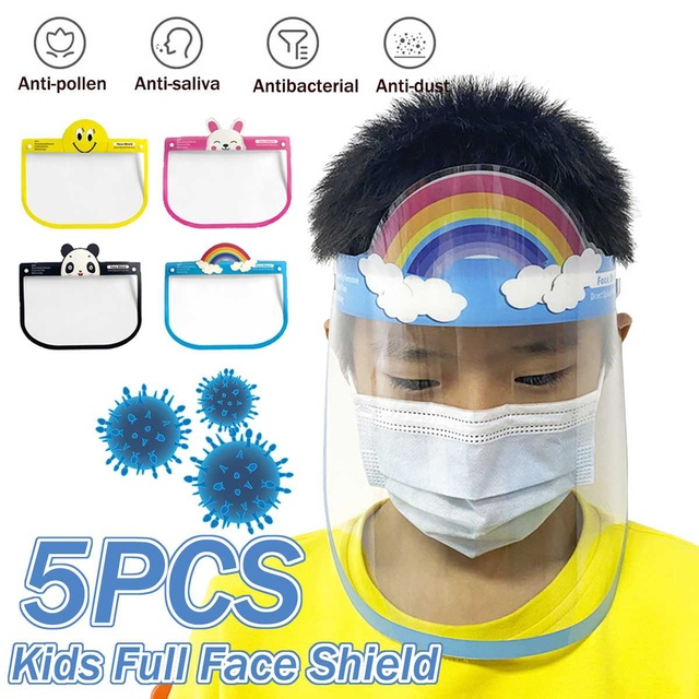 5pcs Transparent Face Shield For Kids Fog-proof Adjustable Dust-proof Protective Rotatable Head-Mounted Full Face Masks 1