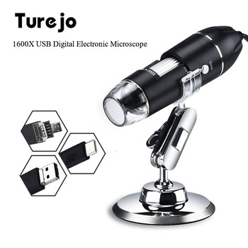 3 w 1 USB type-c cyfrowy mikroskop 1600X elektroniczny mikroskop lupa aparat 1080P 8 LED stojak na MacBook telefony z systemem Android tanie i dobre opinie turejo CN (pochodzenie) 1500X-3000X 1600X USB Digital Microscopes Metal Wysokiej Rozdzielczości Handheld PORTABLE Mikroskop stereoskopowy