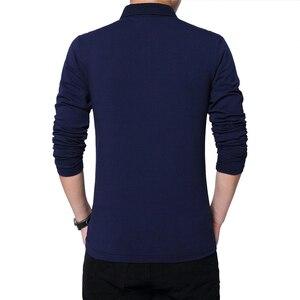 Image 2 - BROWON Herbst Marke T Shirt Männer Lange Sleeve Zipper Kragen Print Lässige T shirt Baumwolle Slim Fit T shirt Plus Größe Männer kleidung