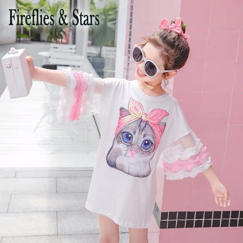 Summer Girls Long T shirt Baby Tee Dress Kids Fashion Streetwear Children Vestidos Sequin Cat Patch Mesh Puff Sleeve 4 to 14 yrs