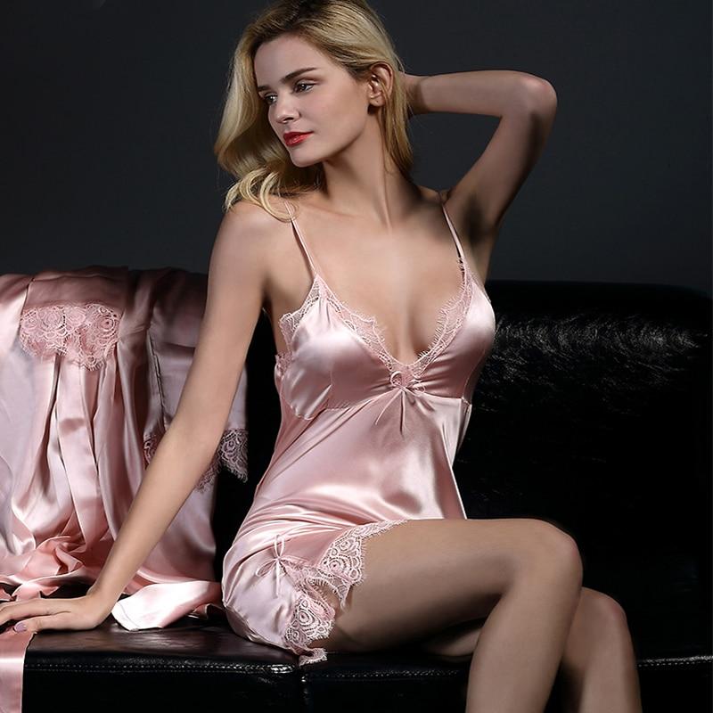 100% Real Silk Nightgowns Women Summer Genuine Mulberry Silk Nightdress Female Nightie Sleepwear