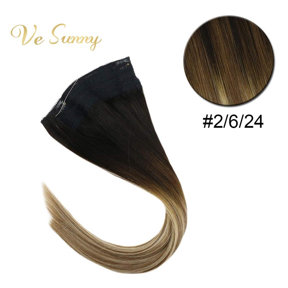 VeSunny Invisible Halo Hair Extensions 100% Real Human Hair Flip In Fishing Wire With Clips On Balayage Blonde #2/6/24