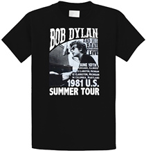 Fashion T Shirts Short Sleeve Funny Crew Neck Mens Bob Dylan 1981 Us Summer Tour Shirt