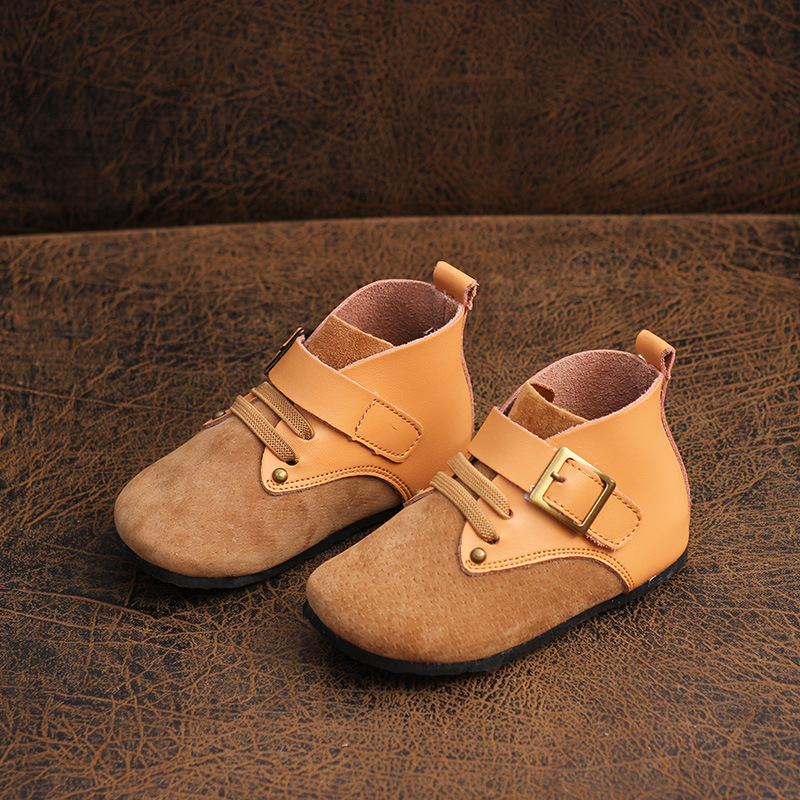 Children's Shoes 2019 Autumn Boys And Girls Short Boots Barefoot Genuine Leather Soft Bottom Boots Children's Martin Boots