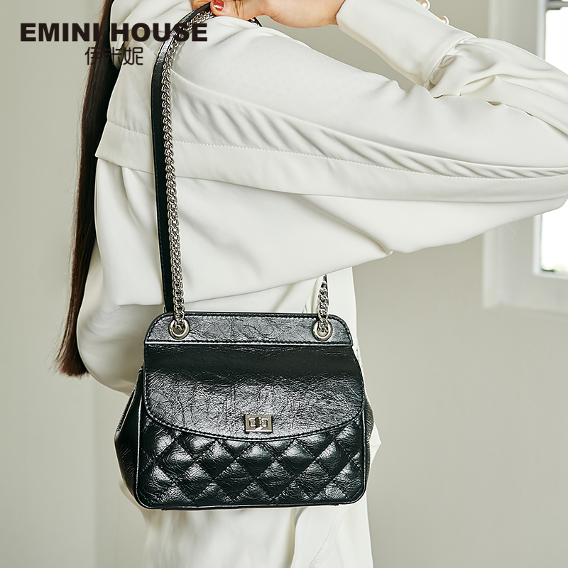 EMINI HOUSE Diamond Lattice Oil Wax Genuine Leather Crossbody Bags For Women Shoulder Bag Luxury Handbags Women Bags Designer