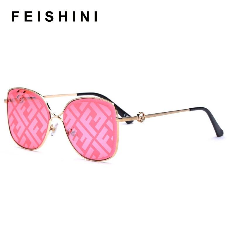 FEISHINI Trimming Mirror Metal Frame Square Sunglasses Ladies 2020 Fashion Trendy Womens Sun Glasses UV Protector Gradient Grey