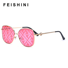 FEISHINI Trimming Mirror Metal Frame Square Sunglasses Ladies NO LOGO Fashion Tr