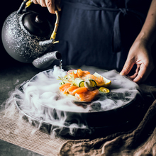 Creative Sashimi Dry Ice Plate Japanese Salmon Seafood Sushi Restaurant High-end Flat Plate Serving Plate