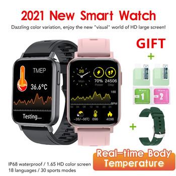 2021 nowy inteligentny zegarek mężczyźni 1 65 Cal temperatura ciała ciśnienie krwi hHeart Rate Monitor Fitness Tracking sport Smartwatch kobiety tanie i dobre opinie RYKKZ CN (pochodzenie) Brak Na nadgarstek Zgodna ze wszystkimi 128 MB Krokomierz Rejestrator aktywności fizycznej Rejestrator snu