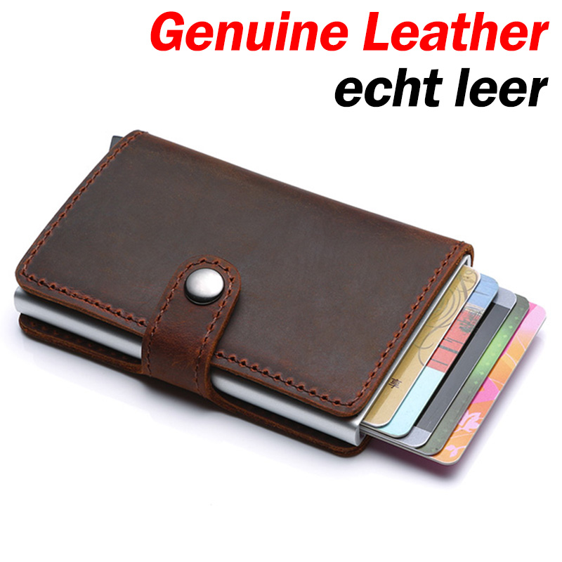 Genuine Leather Men Credit Card Holder Hasp RFID Blocking Men Wallet ID Card Holder Bank Business Wallets Purse For Women Cards