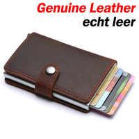 Genuine Leather Men Credit Card Holder Hasp RFID Blocking Men Wallet ID Card Holder Bank Business Wallets Purse for Women Cards