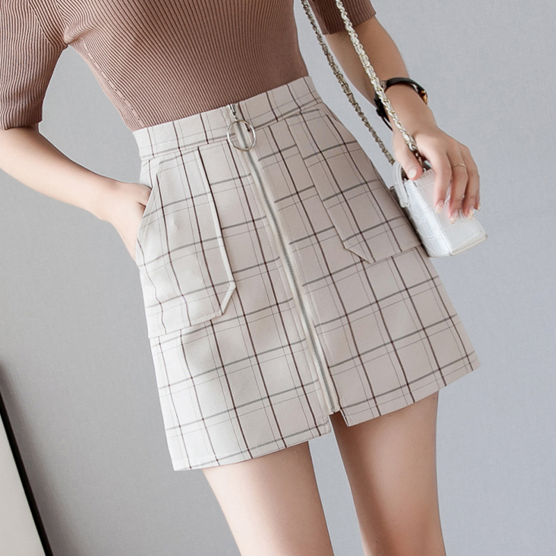 S-2xl Plaid High Waist Autumn Skirt Women 2019 Summer Chiffon Mini Skirt Plus Size Spring Korean Sexy Hip Skirts Falda Mujer