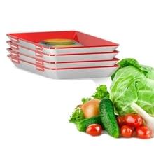 Förderung! Clevere Tablett Kreative Lebensmittel Kunststoff Erhaltung Tablett Küche Artikel Lebensmittel Lagerung Container Set Lebensmittel Frisch Lagerung Micro