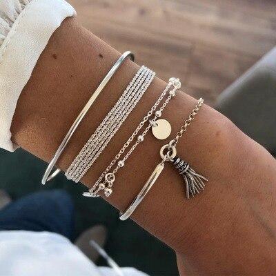 4 Pcs/Set Boho Tassel Round Beads Bracelet Set for Women Bohemian Vintage Multilayer Shell Pendant Bracelet 2020 Trendy Jewelry