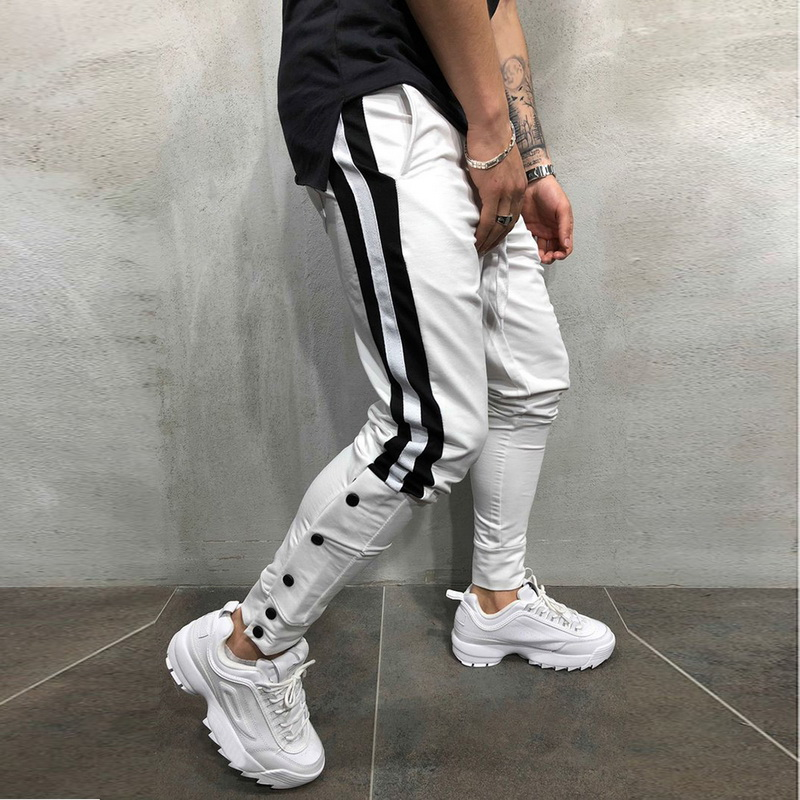 Men Track Pants 2019 NEW Fashion Hip Hop Fitness Streetwear Trousers Striped Drawstring Joggers Sweatpants Pantalon Homme S-3XL