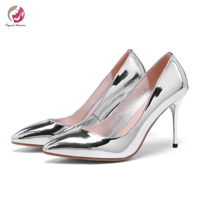 Intention originale Super Sexy métal Style pompes femme miroir argent or pompes dame bout pointu talons minces Bling chaussures femme