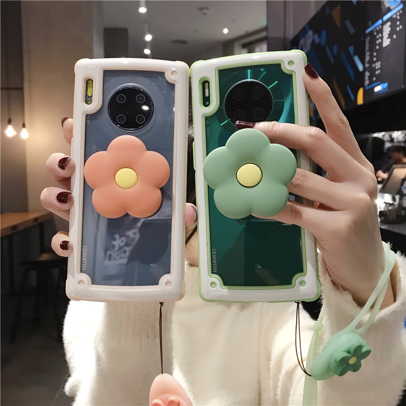 For Huawei Mate30 Full Cover Armor Case For Huawei P30 Mate20 Pro Shockproof Capa + Flower Stander +Strap
