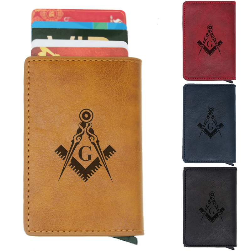 Vintage Classic Masonic Logo Rfid Card Holder Men Wallets Brown Short Purse Leather Slim Wallets Mini Wallets
