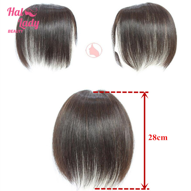 Halo Lady Beauty Clip In Human Hair Bangs Mid part Fringe Hair Pieces Brazilian Straight Remy Hair Toupees Toppers For Hair Loss