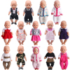 43 Cm Boy American Dolls Clothes Bow Tie Suit Print Dress Overalls Newborn Baby Toys Accessories Fit 18 Inch Girls Doll Gift a1