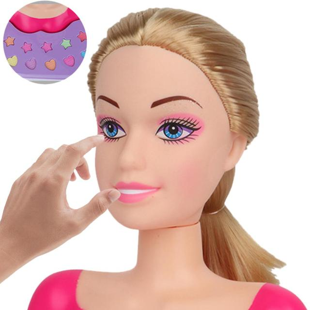 New Fashion Princess Styling Head Doll Toy With Hair Clip Brush Beauty Makeup Accessories Pretend Play Toys For Girls 3