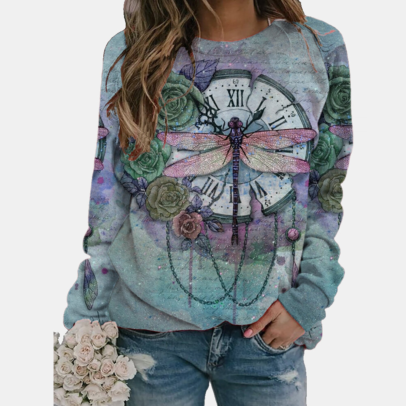 Декорации с принтом «бабочка», футболка для женщин с длинным рукавом и О-образным вырезом Женские топы, женские футболки, женские рубашки, De ...