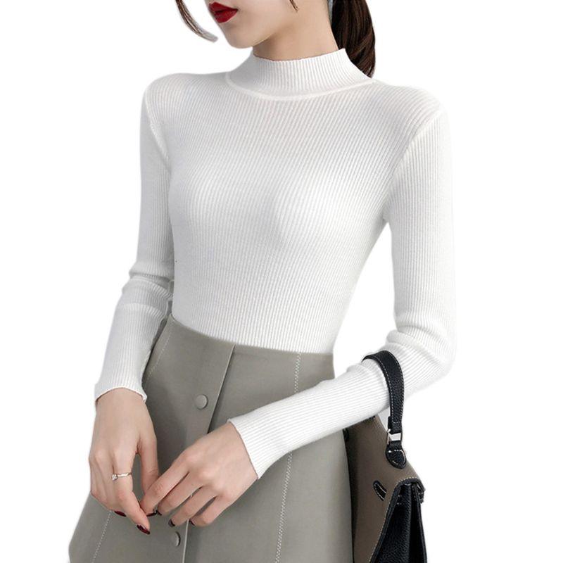 Женский трикотажный свитер в рубчик облегающий пуловер с полувысоким