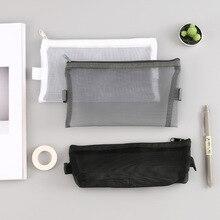 Pen-Bag Pencil-Case Transparent-Grid Korean Stationery Grils Storage-Package School-Supplies