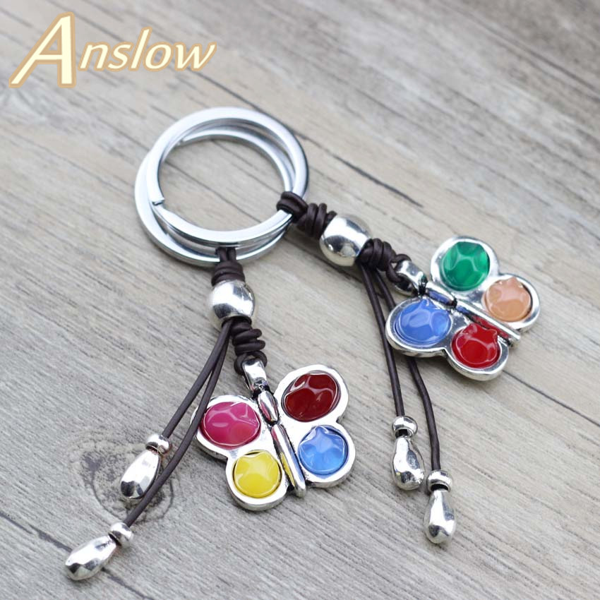 Anslow 2020 Original Design Irregular Resin Color Dragonfly Pendant Charms Keychain Key Rings For Women Girls' Bag Key LOW0009KY