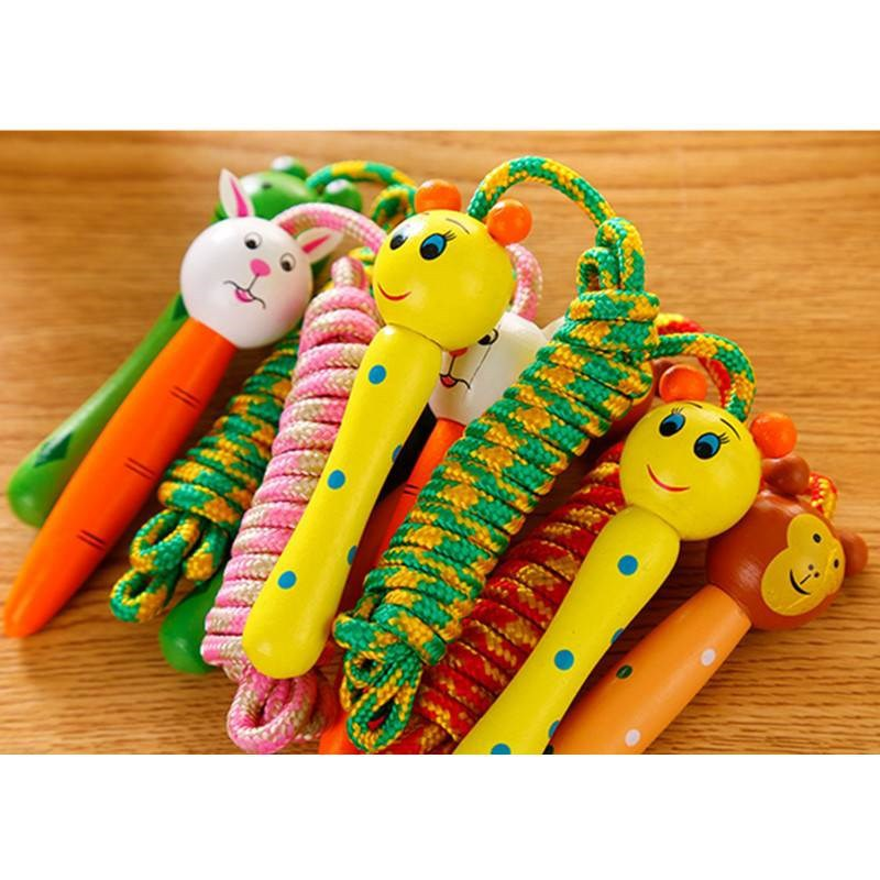 Children Jump Rope Kindergarten Young STUDENT'S Sports Game Fitness Rope Beginner Wood Kids Toy