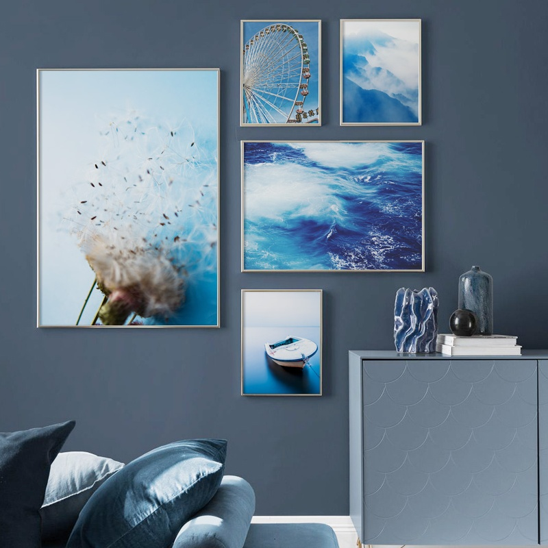 Wall Art Canvas Panting Blue Sea Boat Mountain Dandelion Nordic Posters And Prints Landscape Wall Pictures For Living Room Decor in Painting Calligraphy from Home Garden