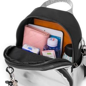 Image 5 - Women Mini Silver Backpack School Bags PU Leather Bag Female Silver Backpacks Teenage Girls Shoulder Bags Rivets Mochila XA462H