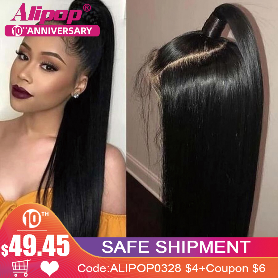 13X6 Straight Lace Front Wig Remy Brazilian Hair Lace Front Human Hair Wigs For Black Women Pre Plucked Alipop Wigs Swiss Lace