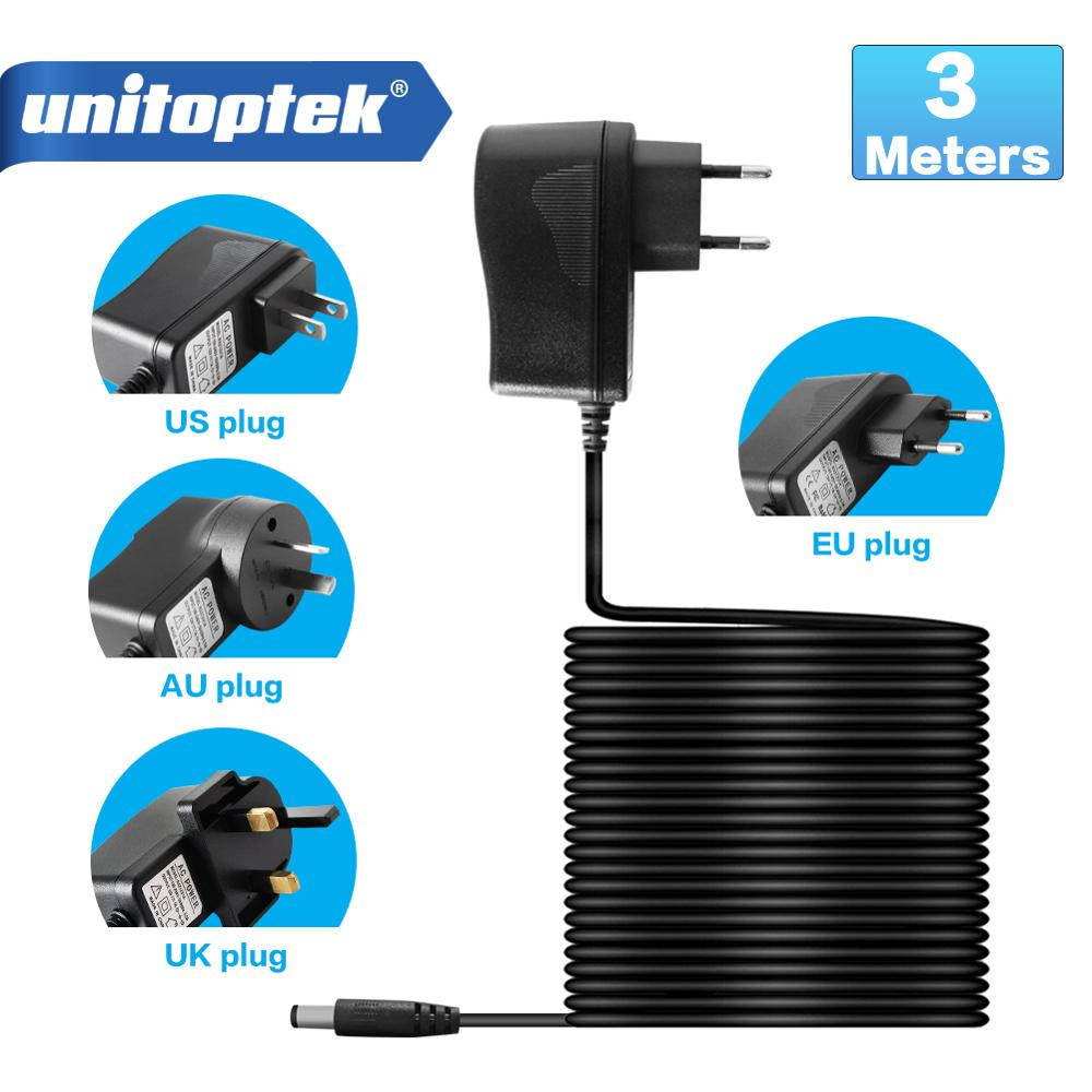 EU AU UK US Plug Type <font><b>12V</b></font> 1A 3 Meters Cable 5.5x <font><b>2.1mm</b></font> Power Supply AC 100-240V To DC Adapter Plug For CCTV IP Camera RXZ12V1A image