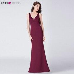 Элегантные бордовые вечерние платья Ever Pretty EP07482BD, платье Русалочки с треугольным вырезом, без рукавов, с драпировкой, формальные праздничны...