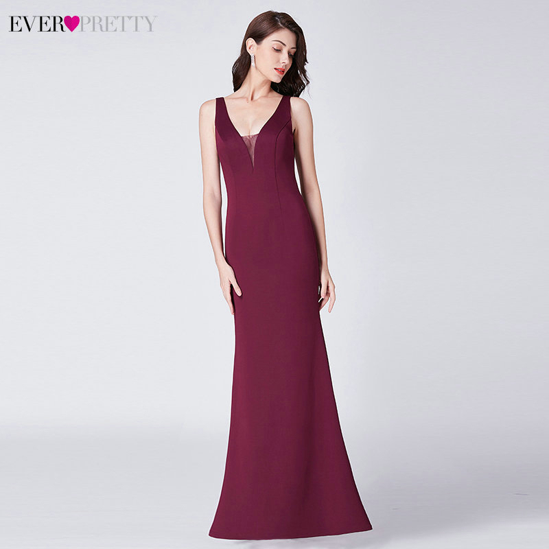 Elegant Burgundy Evening Dresses Ever Pretty EP07482BD Mermaid V-Neck Sleeveless Draped Formal Party Gowns Abiye Gece Elbisesi