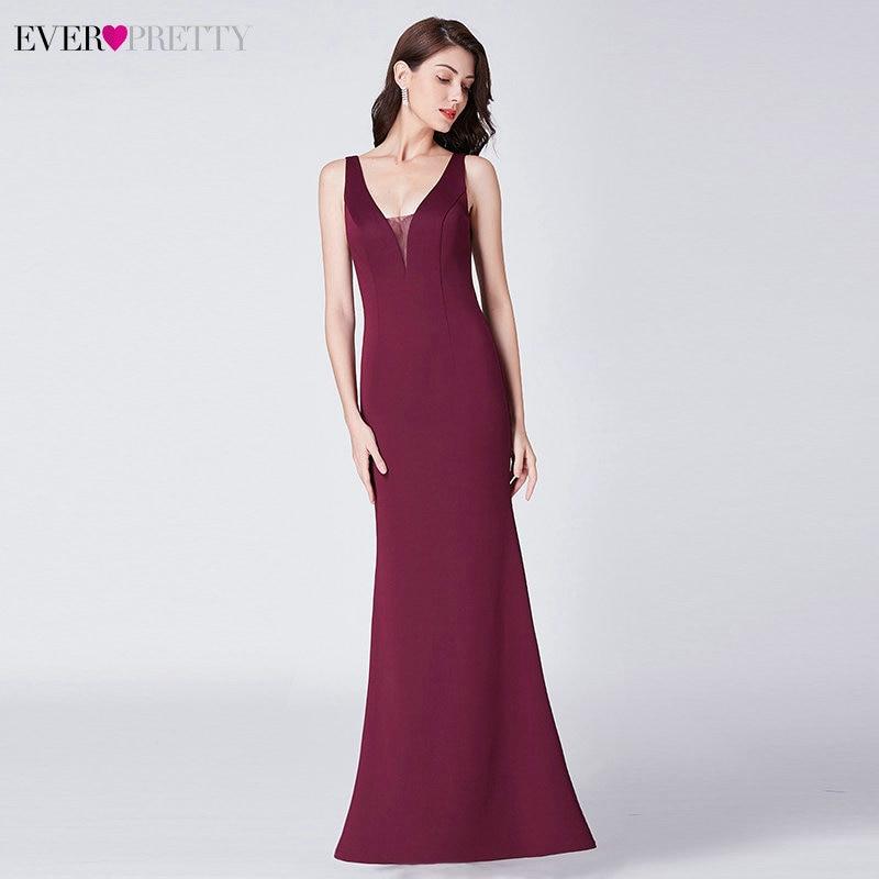 Elegant Burgundy Evening Dresses Ever Pretty EP07482BD Mermaid V-Neck Sleeveless Draped Formal Party Gowns Abiye Gece Elbisesi