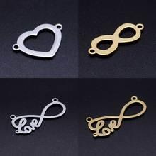 5 шт./лот, 316L, нержавеющая сталь, символ бесконечности, сердце, любовь, сделай сам, соединитель, шарм,, подвески для ожерелья, Прямая поставка