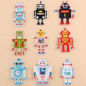 9Pcs Fashion Robot Iron-on Patches Embroidered Sewing Applique For Clothes Apparel DIY Accessories For Children Cloth