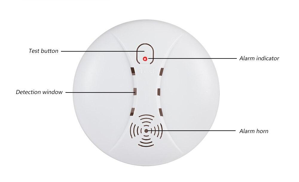 Détecteur de fumée sans fil Fuers détecteur de fumée Anti-incendie indépendant alarme de plus de 85db pour Wifi GSM système de sécurité à domicile pas de batterie